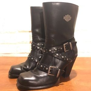 Harley Davidson Women's Black Leather Boots, SZ 8